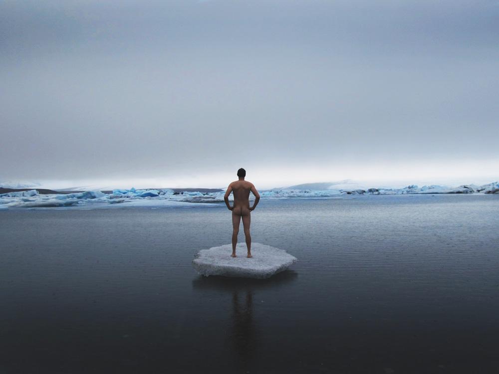 Vatnajokull Iceland Ice Iceberg Floating Nude Naked Artist Art John DeFeo Johnny Landscape Vista Calendar