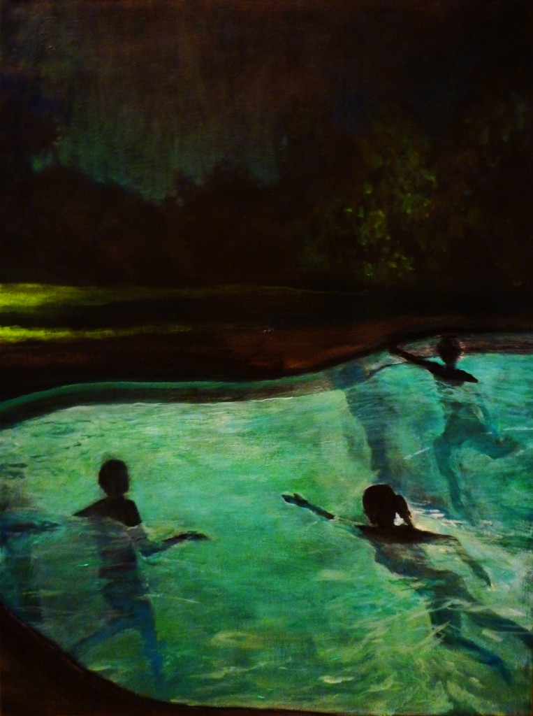 """Nightswimming and other Nocturnal Pleasures"" is about the freedom, pleasure and excitement that can be found in nighttime activities. Compositions include pool-hopping with friends as teenagers, a quiet bike ride through the park, skinny dipping... youthful indiscretion and mystery. There is just something undeniably seductive about being alive in the darkness. I hope to remind the viewer that there are places that are magical, people that can change your life and feelings that can electrify. These are the things that make life worth living and my paintings are to serve as a reminder that they are never too far away."