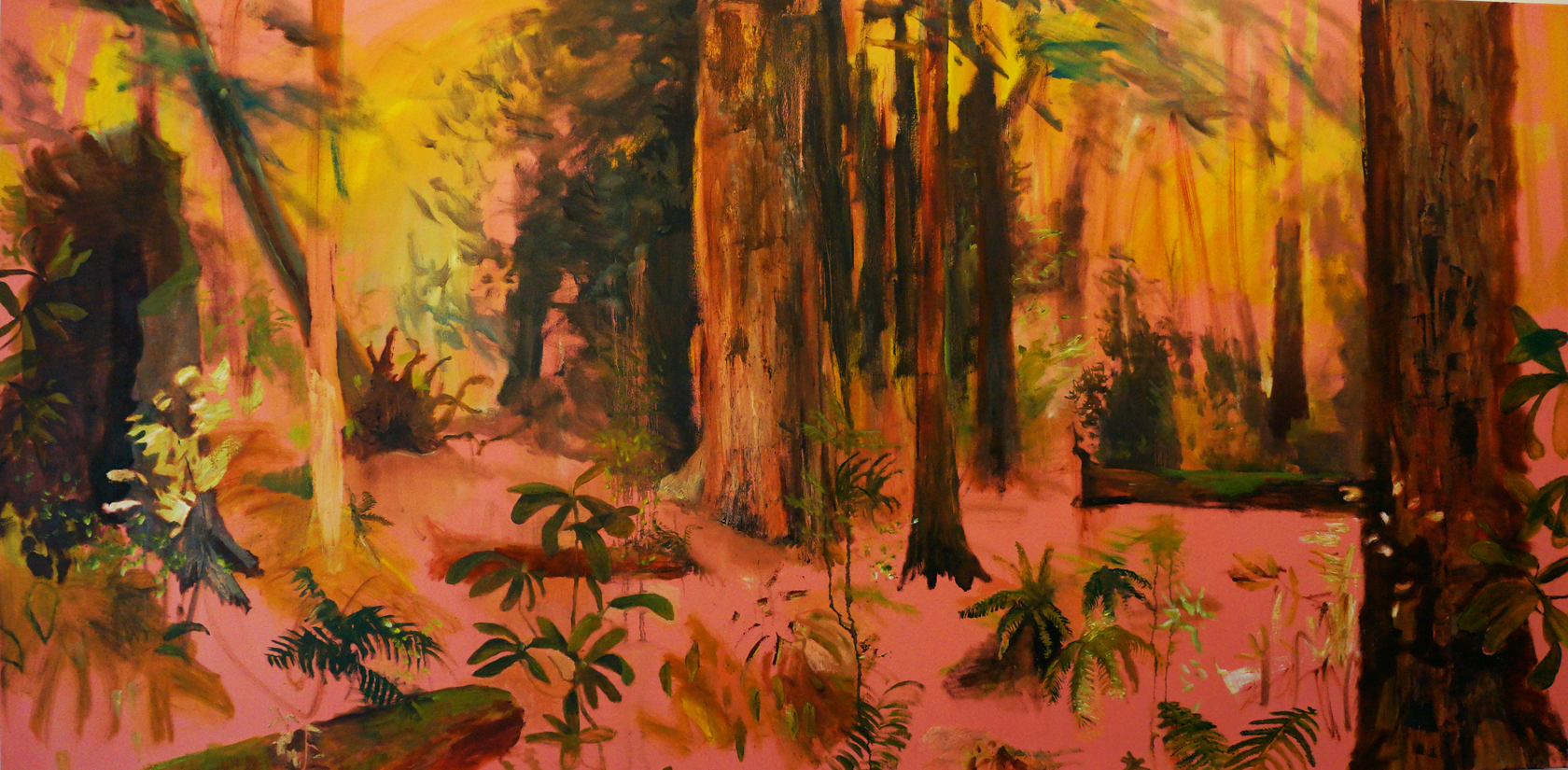 2106 Redwoods with Fires Up North John DeFeo Famous Landscape Abstract Painting Artist