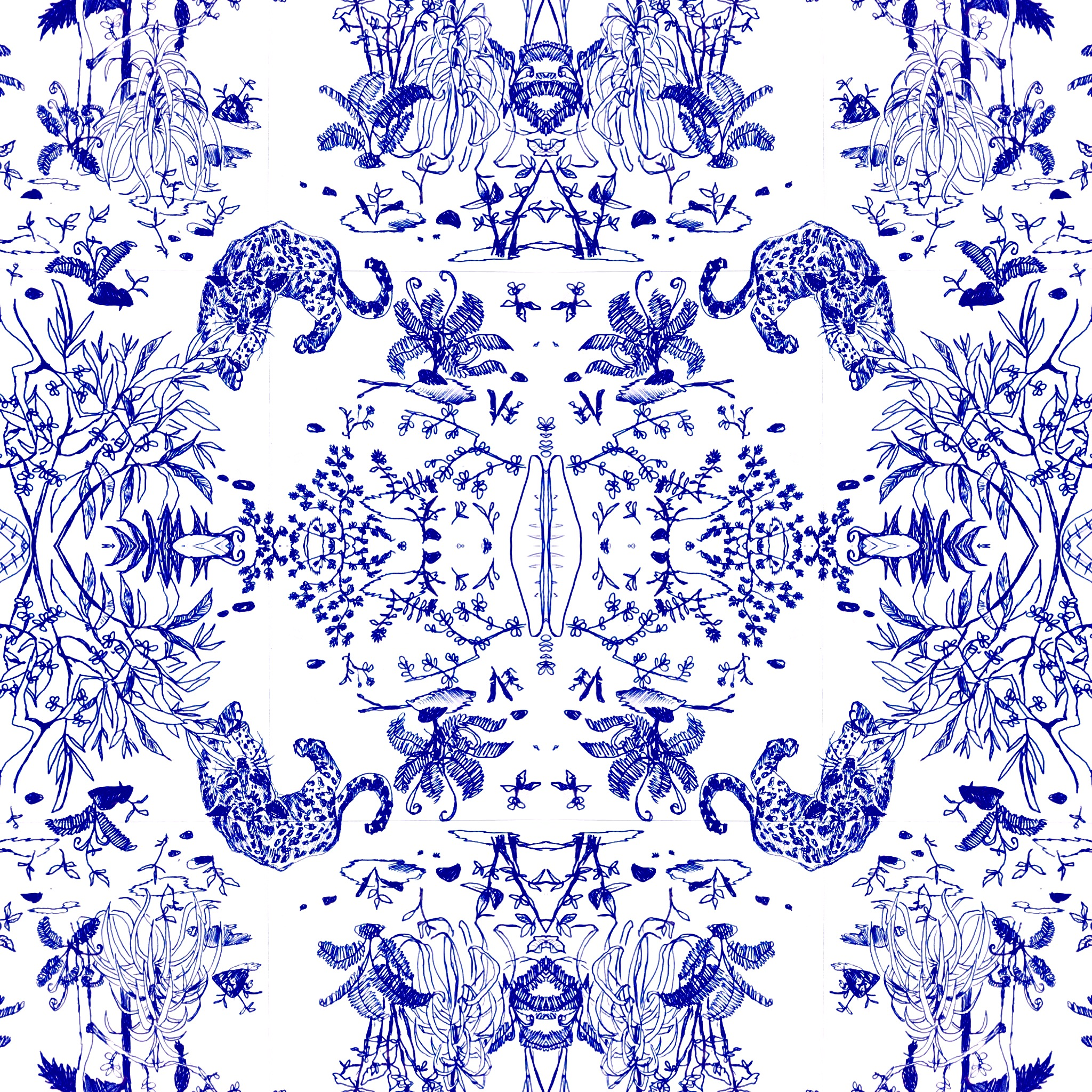 Jungle ocelot textile design pattern making license nature wild animal art
