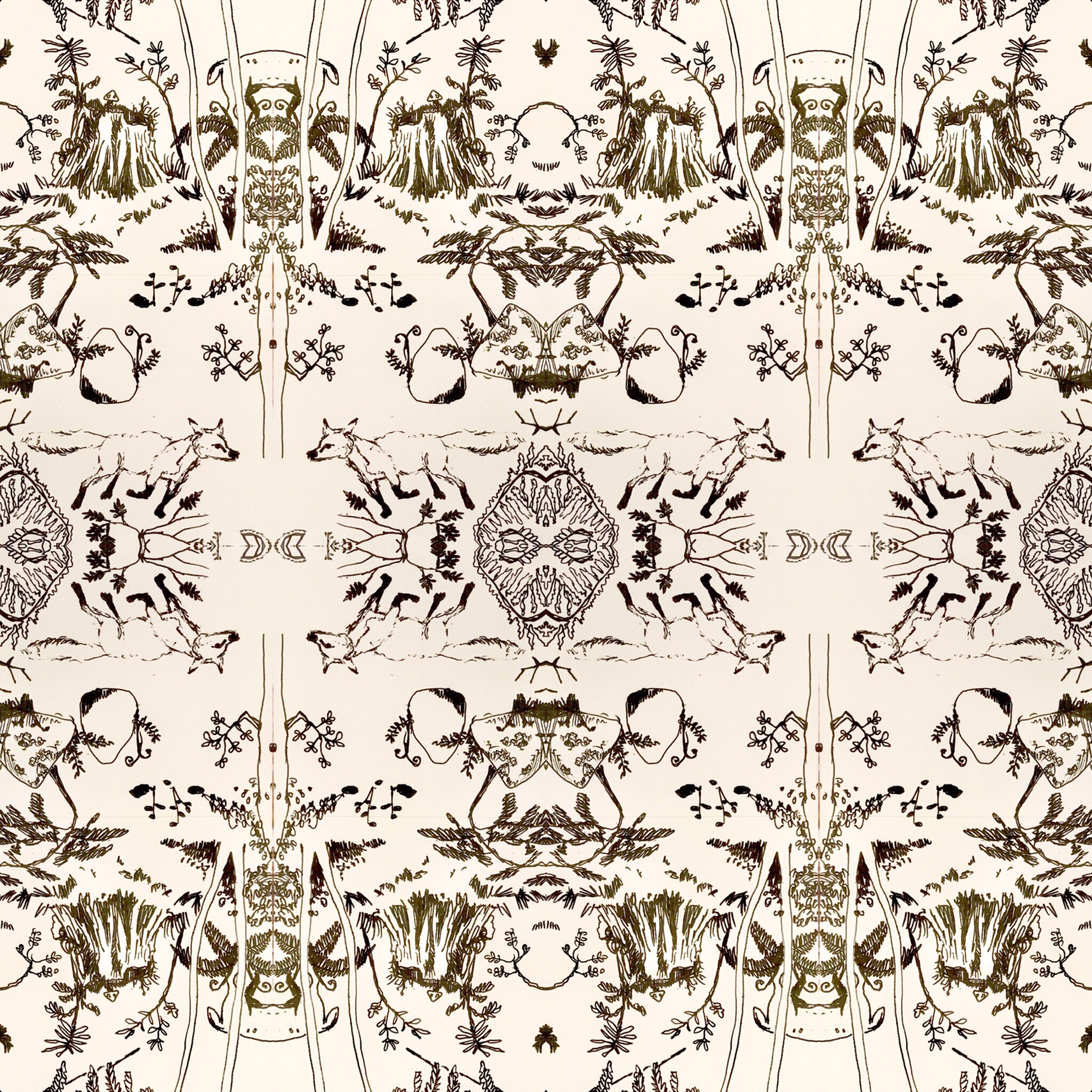 Textile pattern making  fox running forest nature  natural wild land landscape contemporary drawing design luxe dwell home furnishing interior design