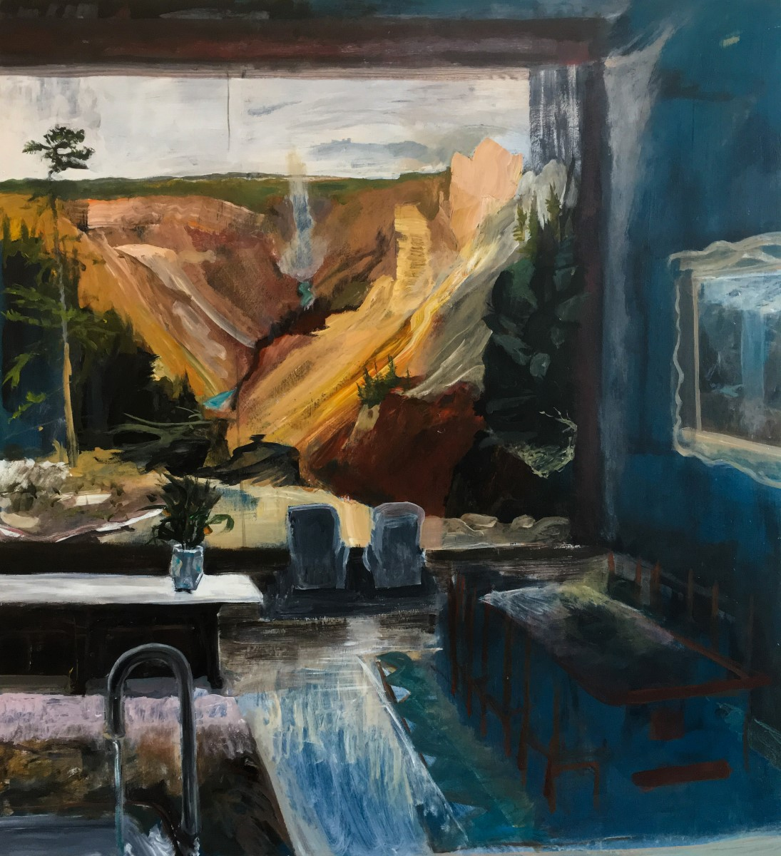 John DeFeo Yellowstone Thomas Moran Painting Point Canyon Waterfall International Realty Southebys Moma Basel Frieze Artist Paint Art Emerging Important Interior Artnet Artnews Collectible Interior Design Decor Dwell Luxe Luxury Home National Parks Wyoming Landscape Yellow Blue Running Faucet