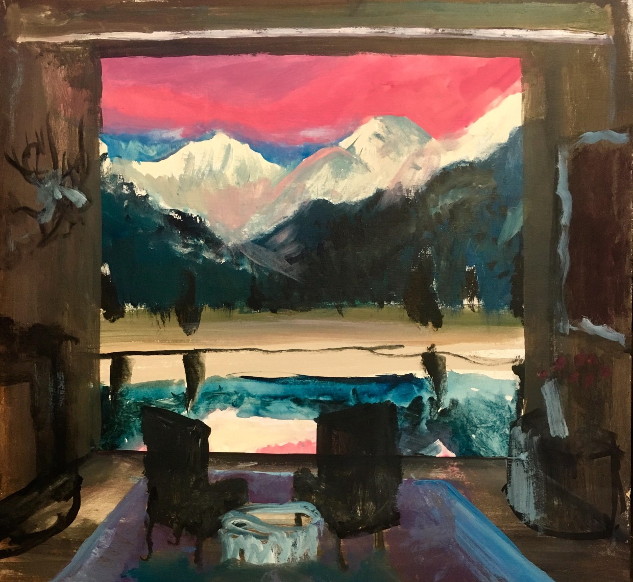 johnny defeo department of the interior painting rocky mountain national park rmnp cabin interior