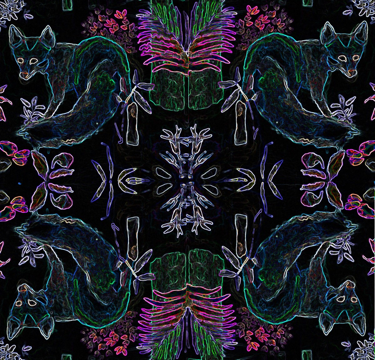 fox neon pattern forest night black blue fuschia textile design interior dwell houzz elle decor architecture furniture