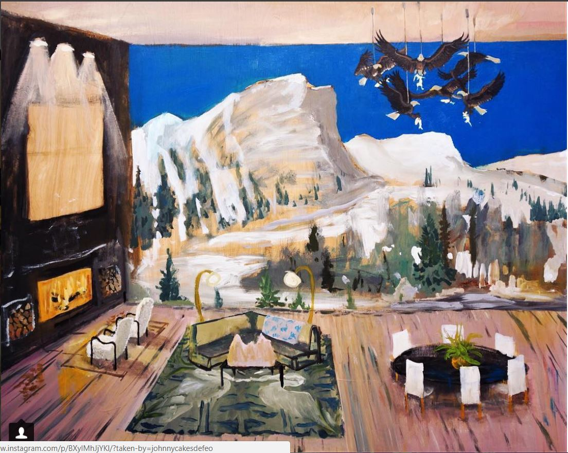 Johnny Defeo department of the interior bald eagle chandelier heron rug