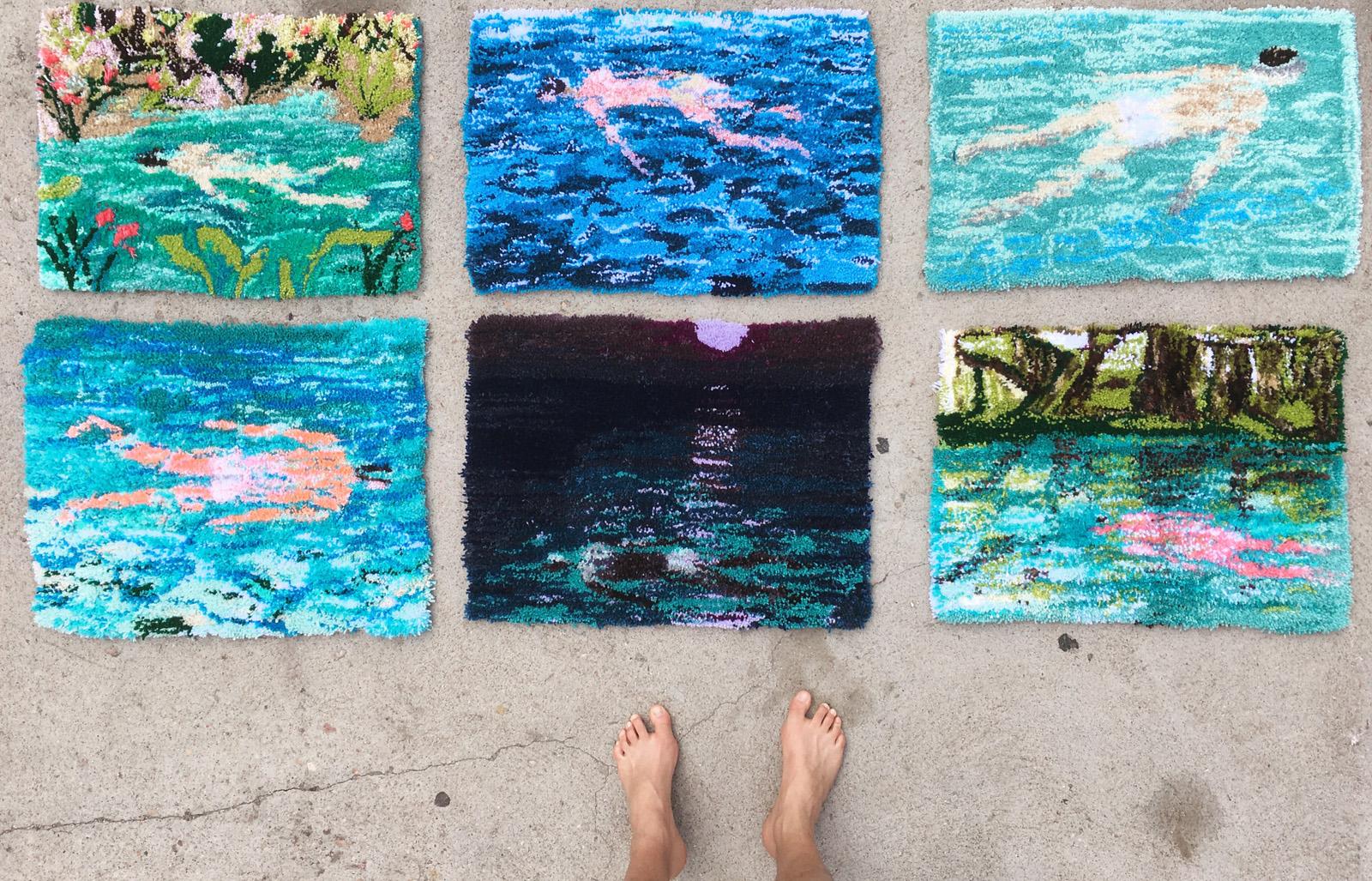 Johnny DeFeo swimmer rug tapestry tufted yarn art
