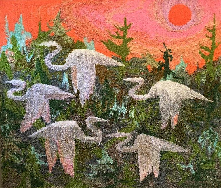 johnny defeo textile tufted yarn tapestry egret sunrise rug 2018