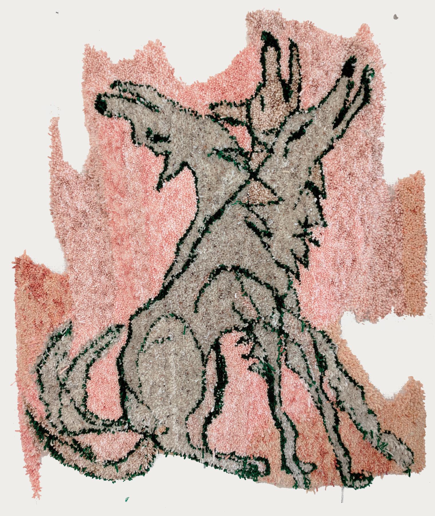 Johnny DeFeo Wolf Stretch tufted yarn 2018 tapestry